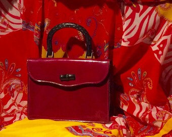 Vintage ~  Mid Century ~  1950s ~ Shiny Burgundy ~ Patent Leather Purse ~ by RONAY