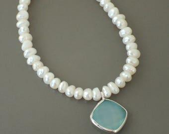 Pearl Bracelet - Aquamarine Blue Bracelet - Chalcedony Bracelet - Bridesmaid Bracelet - White Pearl Bracelet - Sterling Silver