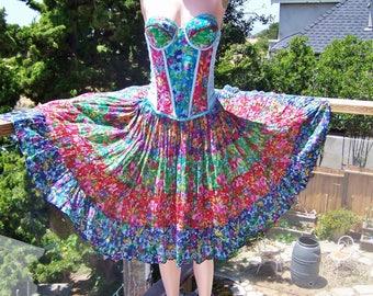 Corset Dress, Party dress, Festival dress, Floral dress, size M / L, size 38 A / 36 B