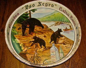 Vintage Serving Tray / Black Bear Campsite Fishing Scene Tin / Metal Beer Tray / Mexico