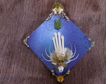 SALE - Miniature taxidermy collage painting, Racoon paw