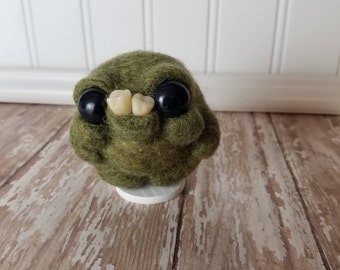 Adorable Needle Felted Wool Toothy Monster- Green
