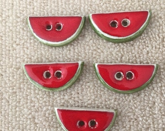 Buttons Watermelon Hand Made Hand Painted Fired Clay Glazed Set Of 5