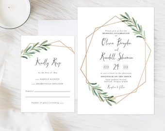 Gold Geometric Invitation, Gold and Greenery Invitation, Eucalyptus and Gold Invitation