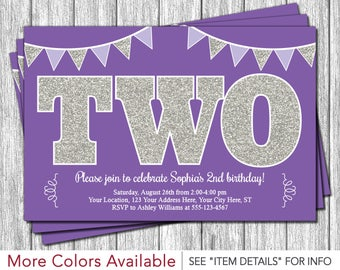 Purple and Silver 2nd Birthday Invitation | TWO Second Birthday Invitation