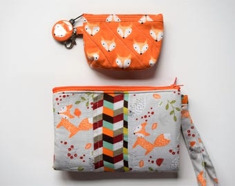Quilted Foxy Fox Wristlet,Snap and Zippered Clutch,Phone Pocket,Dollar Bill Section,RTS,Quilted Multi Pocket Pencil Bag,Four Zipper Pockets