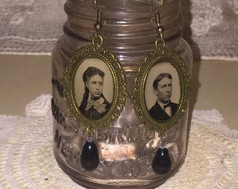 Victorian Gem Tin Type Photo Frame Earrings with Edwardian Black Glass Drop