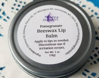 Beeswax Lip Balm- Pomegranate- 1 oz tin