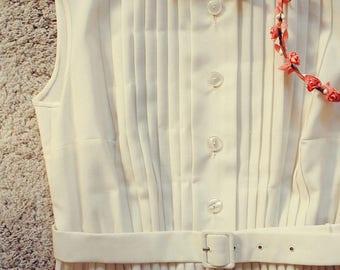 Vintage Dress - 1960s Dress - 1960s Pleated Day Dress - Cotton Dress- Women's Dress -