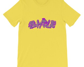 Glimlach graffiti shirt, korte mouwen T-Shirt Unisex