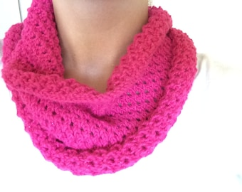 Knitted Cowl - Eyelet Pattern Bright Pink Sparkle Neckwarmer