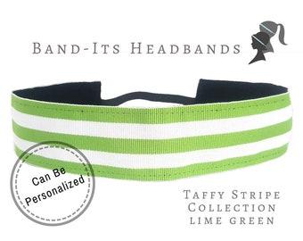 Lime Green Headband - Wide Headband - Thick Headband - Running Headband - No Slip Headband - Stripe Headband - Lime Green White Taffy Stripe