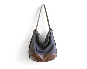 NG adjustable hobo pack | leather base waxed canvas