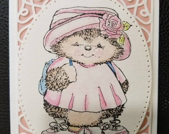 Hedgehog Pink Rose Birthday Card