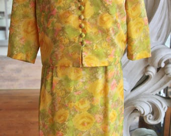 Vintage 1950s - 1960s Floral Elinor Gay Dress with Jacket 38 Bust