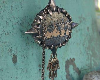 Journey Stone - Compass Rose - Dendritic Jasper and Bronze Pendant