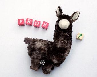 Stuffed Llama, Llama Plush, Probllama?  Cute Soft Baby Toy, Furry Plush Hoofed Animal, South American Alpaca