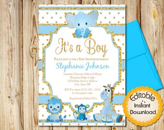 "Baby Shower Invitation, Boy, Blue and Gold Safari Animals, INSTANT download, EDITABLE in Adobe Reader, DIY, Printable, 5""x7"""