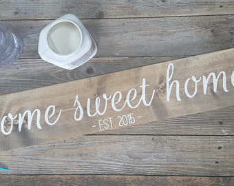Home Sweet Home Established Sign, New Home Sign, Home Decor, Wooden Sign, Gallery Wall, Gift, Custom Signs, Wooden Art, Gifts, Anniversary