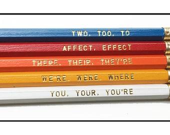 Set of 5 Colorful Assorted Grammar Pencils