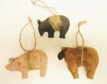Primitive Animal Ornament Set of Three, Christmas Decor, Primitive Ornaments