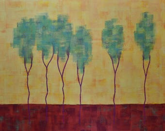 Landscape Painting ... Acrylic Art on Paper ... Landscape Tree Painting ... 18 x 24 Trees