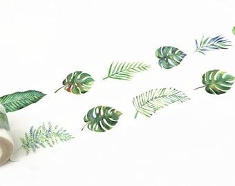 Washi Tape, Leaf Washi Tape, Leaves Washi Tape, Green Paper Tape, Plants Washi Tape