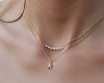 STARFISH necklace-silver necklace-Delicate Necklace-starfish gold necklace-minimal jewelry
