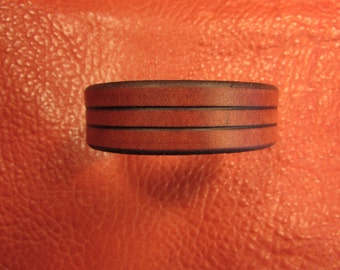 "3/4"" Wide Karmic, Mahogany Leather Bracelet"