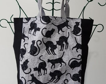 Book Bag - Black Cats on Grey Background