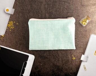 Aqua sketch (sm) zipper pouch, gift bag, zipper pouch, small design pouch, makeup organizer pouch, gift for her, best friend gift,