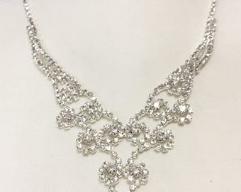 Rhinestone Bridal Necklace Set, V Necklace, Wedding Necklace for Bride, Bridesmaid jewelry, Bridesmaid Gift, Prom Jewelry 757-RS00858