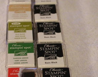 Free Shipping!  10 Stampin' Up Classic Stampin' Spot - Black, Chocolate Chip, Old Olive, Red - New in Shrink Wrap - Scrapbook, Cards - C