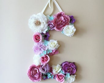 Floral letter, 15''/19''/24'' Personalized wall art, Floral letter nursery, Flower letters, Nursery decor, Baby shower gift, Wall letters