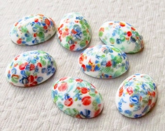 18x13mm White Millefiori Vintage Japanese Glass Cabochons (4 pieces)