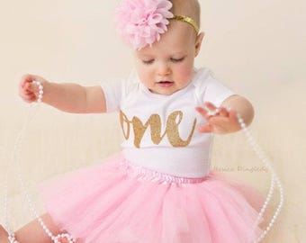 First Birthday Outfit Girl- 1st Birthday Girl Outfit- Pink and Gold First Birthday Outfit- 1st Birthday Tutu Outfits-First Birthday Tutu