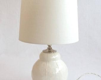 Ceramic Table Lamp. Small Table Lamp. Modern Pottery Lamp. White Ceramic  Lamp.