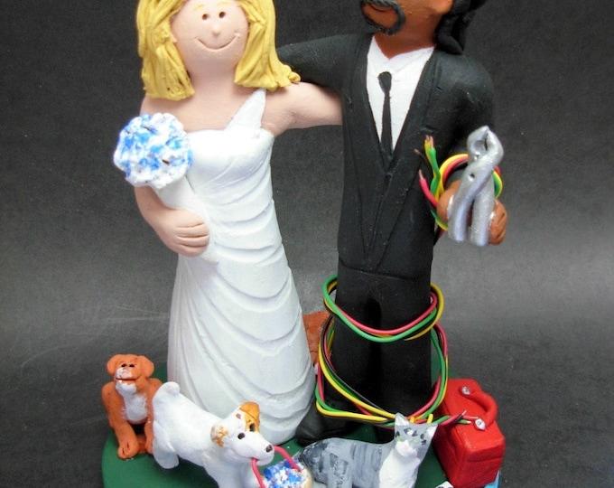 Caucasian Bride Marries African American Groom Wedding CakeTopper, Wedding Anniversary Gift for Mixed Race Couple, Wedding Anniversary Gift.