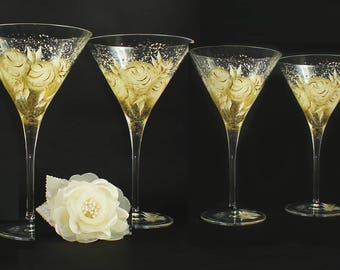 Set of 4 50th Anniversary Martini Glasses Gold and Ivory Roses Set of 4 Custom Wedding Gifts  Painted Glasses Personalized 50th Anniversary