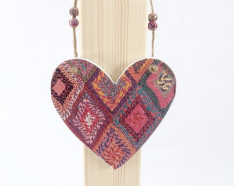 Knitted effect decoupaged wooden hanging heart