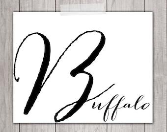Buffalo NY Print - 8x10 Buffalo ny Art, Buffalo Decor, Home Decor, Printable Art, Buffalo Wall Art, Buffalo Typography