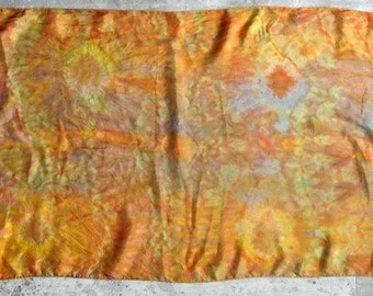 French vintage silk scarf orange Vintage french orange silk scarf kerchief