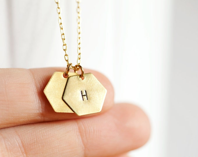 Multi-Charm Small Brass Hexagon Necklace // Raw Cut Brass Necklace // Gold Necklace //  Personalized Stamped Necklace