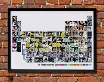 Illustrated Periodic Table of the Elements - Giclee Print (unframed)