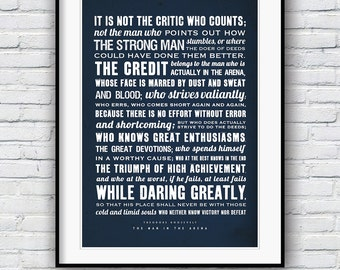 Inspirational Prints, Theodore Roosevelt, Quote Prints, Motivational Poster, Man in the Arena, Positive Inspiration, Graduation Gift, Poster