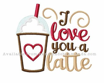 I love you a latte COFFEE towel - Coffee Quote hand towel - Kitchen towel for Coffee lovers