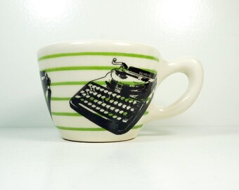 12oz cup with an Olivetti typewriter print, shown here on leaf green pinstripes - Made to Order / Pick Your Colour