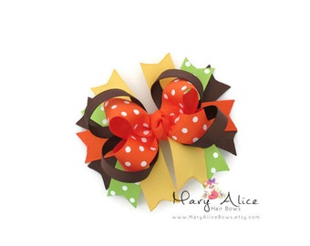 "Thanksgiving Boutique Hair bow- 4"" Stacked Bow, Large Bow, Girls Hair Bow, Toddler Hair Bow, Alligator Clip, French Barrette- Made to Order"