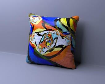Multi Colored Throe Pillow, Make It Rain Fiesta Pink Yellow Orange Green Blue Purple Accent Pillow, Rainbow Accent Toss Pillow