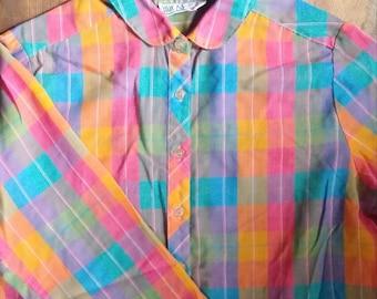 70s Bright Plaid Button Up Blouse